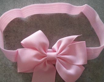 baby girl headband light pink bow