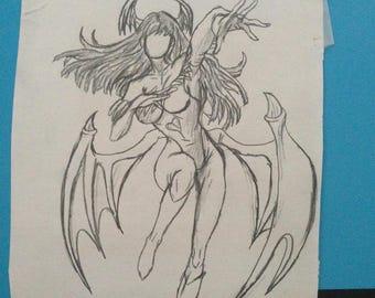 Small Morrigan Sketch (Darkstalkers)