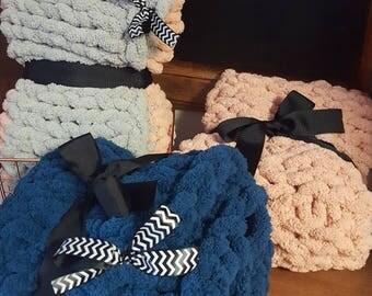 Hand knitted children's snuggle blanket