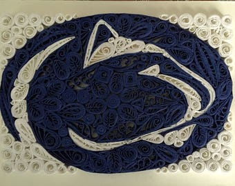 Quilled Penn State Logo: Framed Handmade Quilling Art Gift-Handmade Special Logo Design-Gift For Special Person-Wall Art Decoration