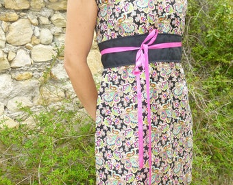 Short cotton dress with belt reverssible.