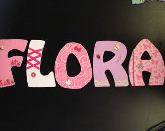 Order custom medium 14 cm FLORA wooden letters