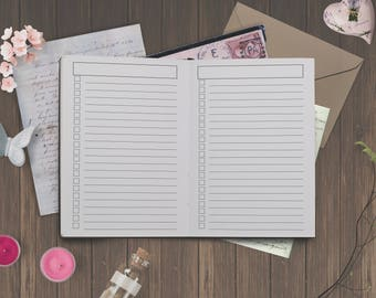 Cahier Size: Lined Checklist Insert for Cahier Size Travelers Notebook Foxy No. 7 - 5 different covers | Printable | Instant Download