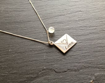 Moonstone love letter necklace silver