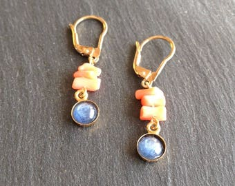 ice blue and coral earrings