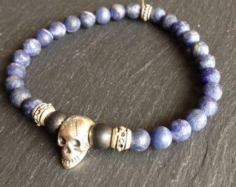 rock mens bracelet, fish, balance, skull, blue sodalite and black onyx stone