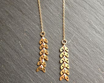 long earrings plated gold orange