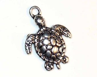 1 silver turtle charm aged 23 x 16 mm MB179
