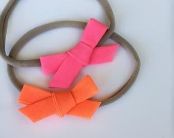 set of two neon pink & neon orange mini bias tape bow