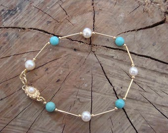 Brass bracelet, pearls, turquoise beads