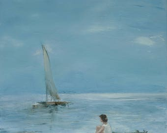Girl and the Sea, painting