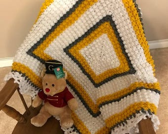 Baby Blanket (White/Gold/Gray) Popcorn Pattern