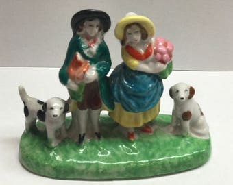 Made in Japan Figurine Man and Woman with Dogs