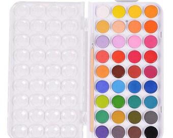 36 Colors and Brush Set Watercolor Pan Set Non-Toxic Artists Loft Fundamentals + Paintbrushs