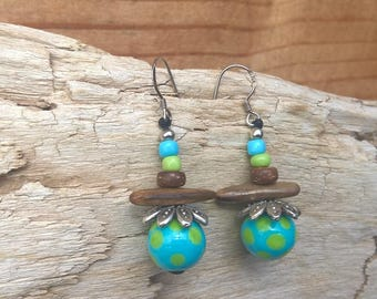 Earrings turquoise green dot glass Lampwork