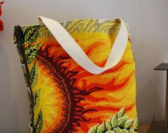 large flaming Sun canvas tote bag