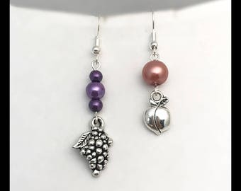"""Mismatched earrings """"peach and grapes"""""""