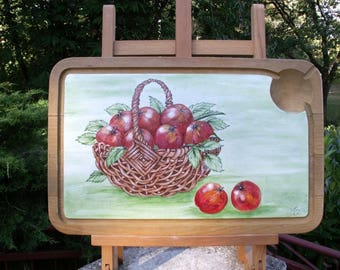 """Cutting board """"Basket of red apples"""" painting on wood"""
