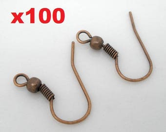 100 copper ear hooks