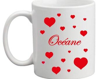"""Valentine"" red hearts mug"