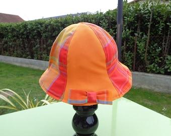 Sun Hat canvas cotton madras orange