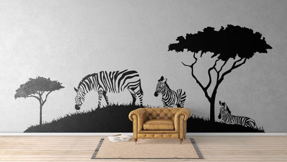 Zebras on a African Landscape - African Animals Wall Decal / Stickers, Africa Savanna Landscape Serenity Peaceful Relaxing Equids