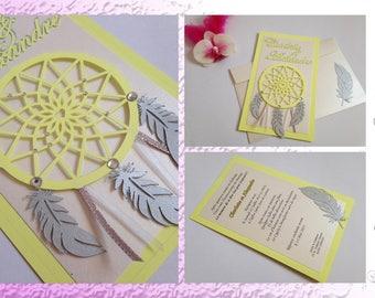 Announcement dream catcher and feather paper - Dreamcatcher - wedding