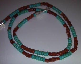 Kingman turquoise Mediterranean coral Necklace