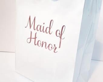 Wedding gift bag - bridesmaid gift bag - bridal party gift bag - gift idea - custom gift bag - gold - rose gold - silver - white gift bag