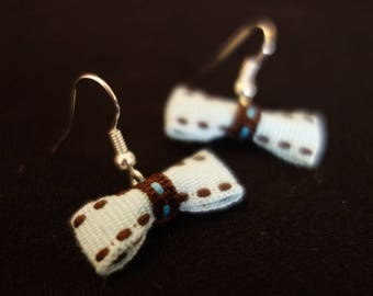 Earrings light blue ribbon bow and Brown dots