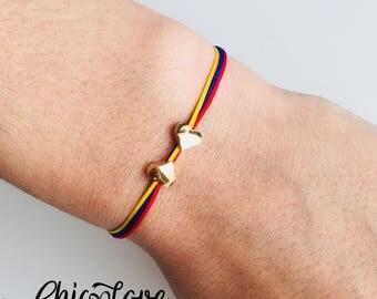 Double Heart Colombian Bracelet, Pulsera de Colombia, Colombian Bracelet, Colombia Jewelry, Colombia Bracelet with Small Hearts.