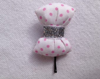 BARRETTE with knot pads in white fabric with polka dots pink