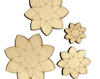 Blank Wooden Flowers Plywood Scrapbooking Embellishment Wedding Decor Christmas