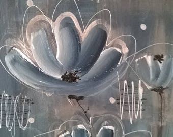 "Painting - Canvas painting acrylic flowers ""Silver-Blue"""