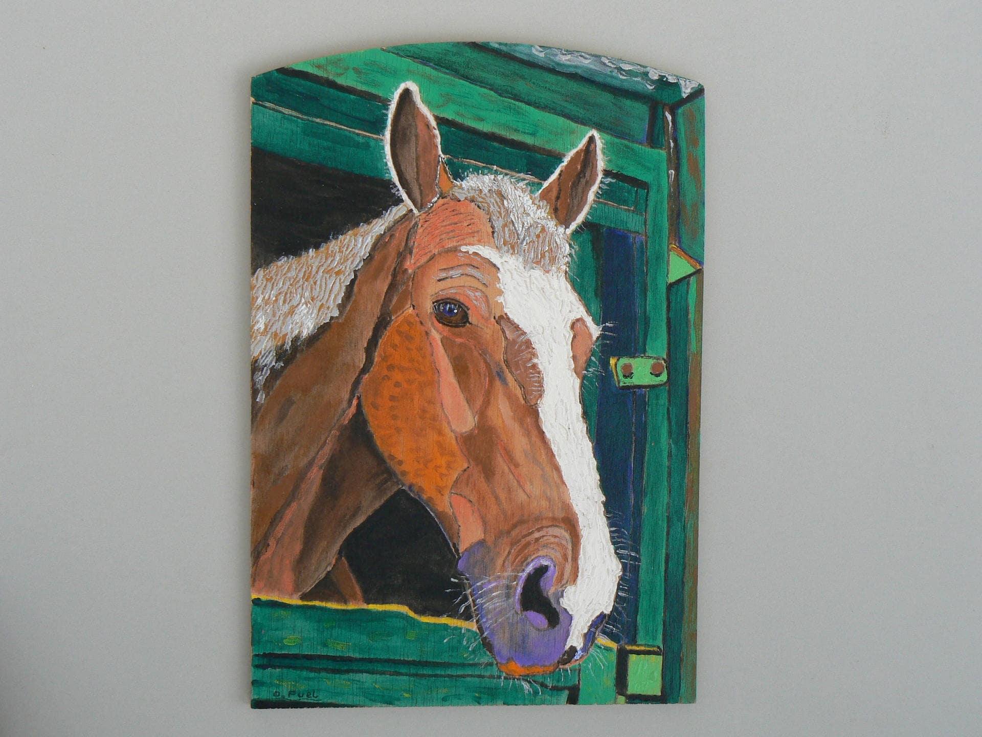 peinture acrylique sur bois tete de cheval la porte de son. Black Bedroom Furniture Sets. Home Design Ideas