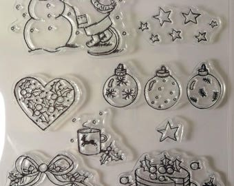 Stamps Christmas theme (9pieces) - mouse Pic & Lily - snow, Christmas balls, Holly - kids