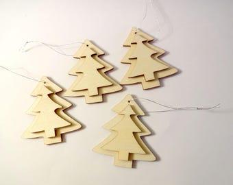 4 Christmas tree wood ornaments decorating - Christmas decoration - embellishments - Christmas tree