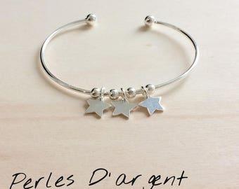 Bracelet demi jonc / étoile en argent 925
