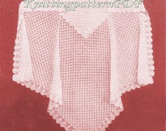 Christening Shawl/ Crochet Shawl /0-6 months/3-ply/ PDF Digital Download Vintage Knitting Pattern – 20