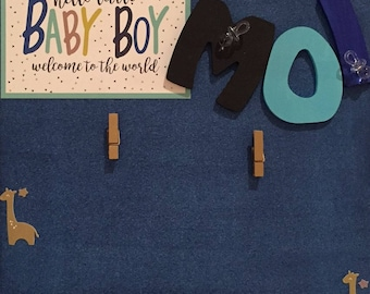 From birth - wooden photo frame - for boys
