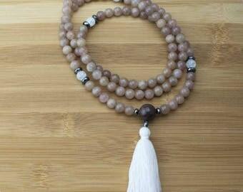 Strawberry Quartz Mala Beads Necklace with Ice Quartz Crystal | 8mm | 108 Buddhist Meditation Prayer Beads Mala with Tassel | Free Shipping
