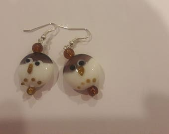 Purple and white snowman with brown beaded earrings