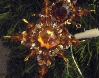 Lot 4 Christmas decorations gold/Pearl/rhinestone wire Orange stars
