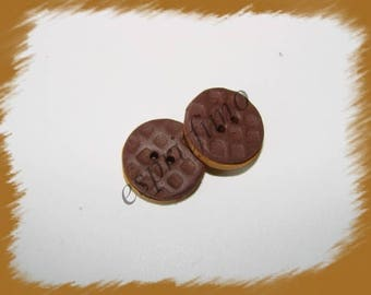 "Button ""pepito"" chocolate Fimo"