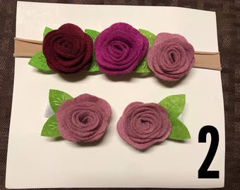 Headband and 2 clips set handmade for babygirl newborn infant  girl felt flower baby shower felt flower