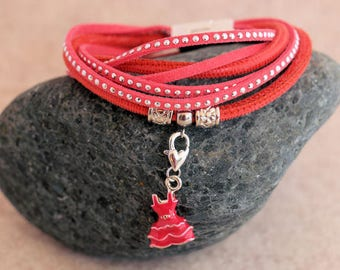 Wrap bracelet made of nappa and suede-red