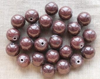 10 Jade Mashan 10mm chocolate brown color beads