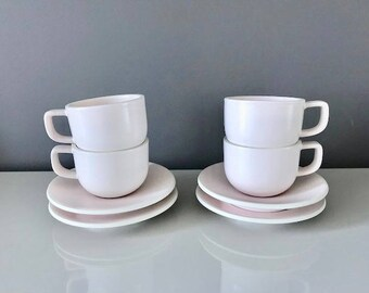 Sasaki Colorstone by Massimo Vignelli Tea Cups/Saucers - Set of 4 - Matte Pink