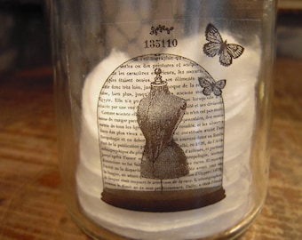 Candle glass sticker industrial glass globe, mannequin, butterfly, shabby