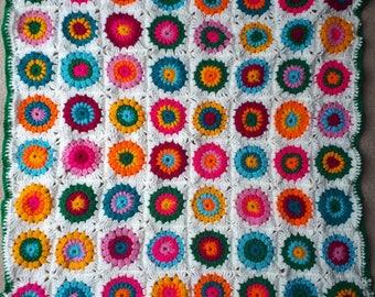 Cosy Colour Pop Afghan Blanket Throw •